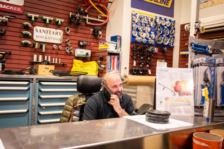 Parts desk at Slimline Manufacturing in Penticton, BC.